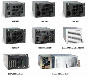 Cisco Catalyst 950W, 1000W, 1400W, 2500W, 4000W, 6000W Power Supplies