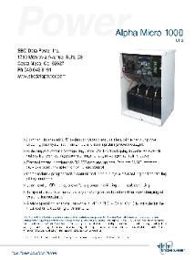 Alpha Technologies Alpha Micro 350, Micro 1000, Outdoor, UPS, NEMA 3R, Enclosure Brochure
